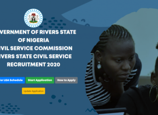 REGISTRATION PORTAL ONGOING FOR RECRUITMENT RIVERS STATE CIVIL SERVICE 2020