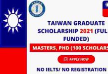 TAIWAN INTERNATIONAL GRADUATE PROGRAM SCHOLARSHIP 2021