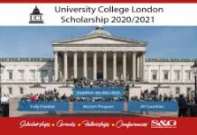 UNIVERSITY COLLEGE LONDON SCHOLARSHIP APPLICATION FORM OUT 2021